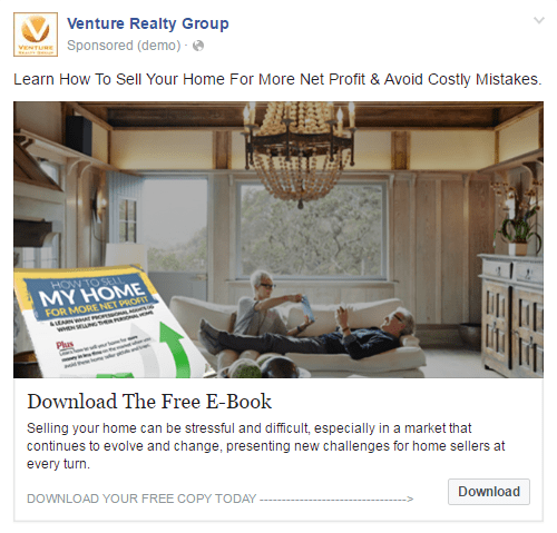 Facebook Retargeting Ad Example with Download Button